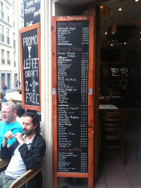 Brussels Belgium Beer Menu