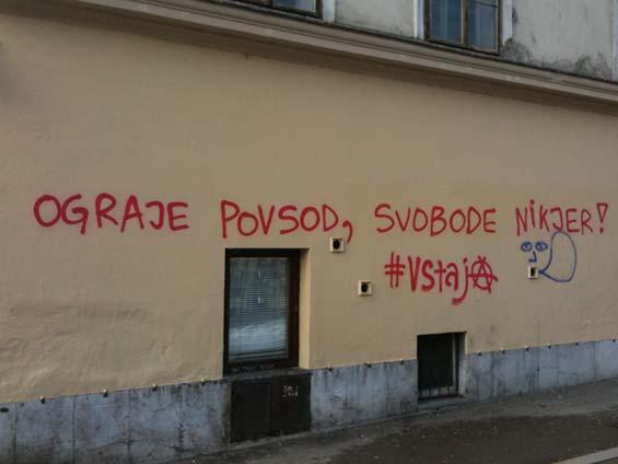 #vstaja hashtag graffiti Ljubljana Slovenia