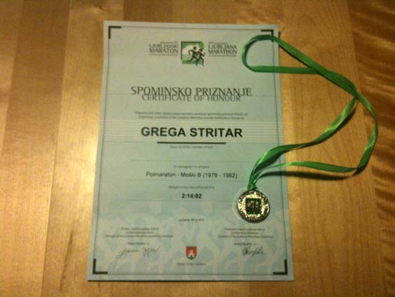 The Ljubljana Marathon Medal and Certificate Line