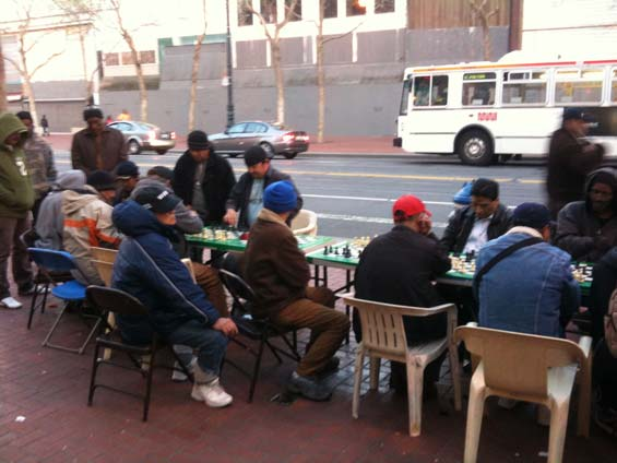 San Francisco Streets Seniors Playing Chess