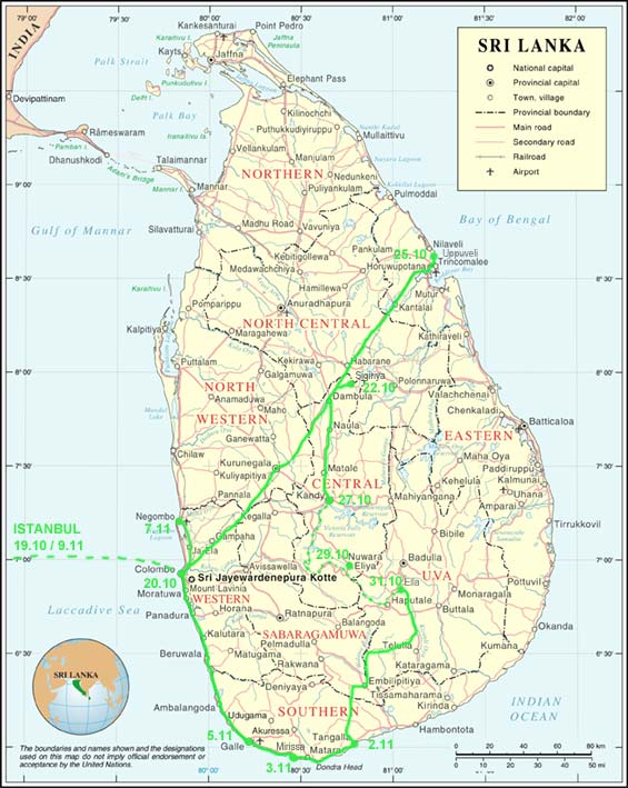 Sri Lanka Map Itinerary